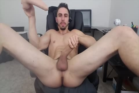 Stretching His gap With A dildo